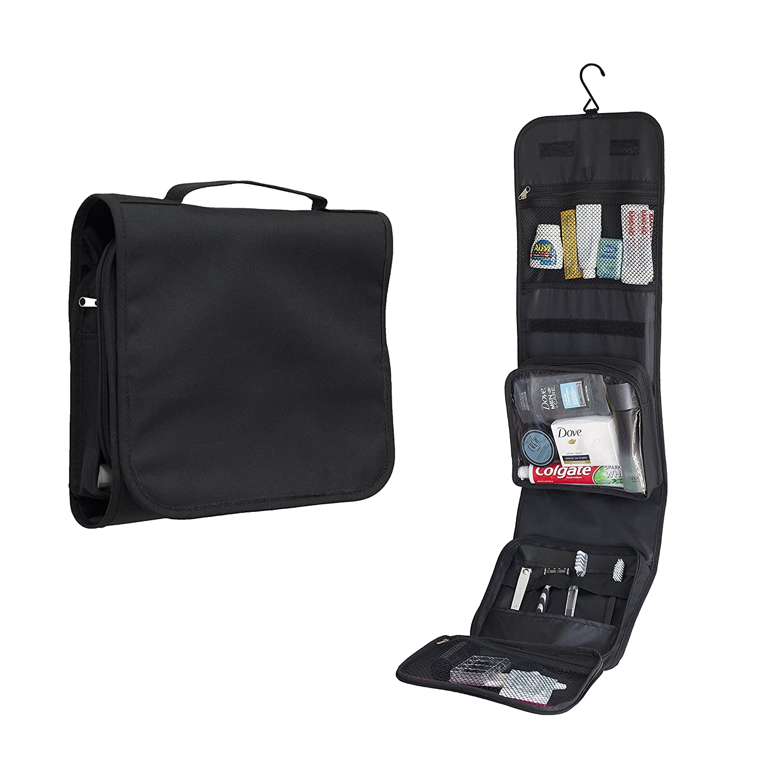 Hanging toiletry bag by Nomalite | Black folding travel wash bag for men & women / ladies with strong hook and large detachable clear compartment for makeup / liquids in flights. Ideal for travel. H001