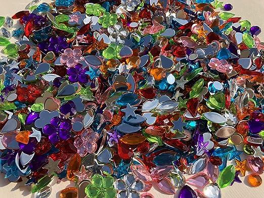 85 Stück Sterne 10+12+13mm bunt Acryl-Strass-Steine //Schmucksteine zum Aufkleben