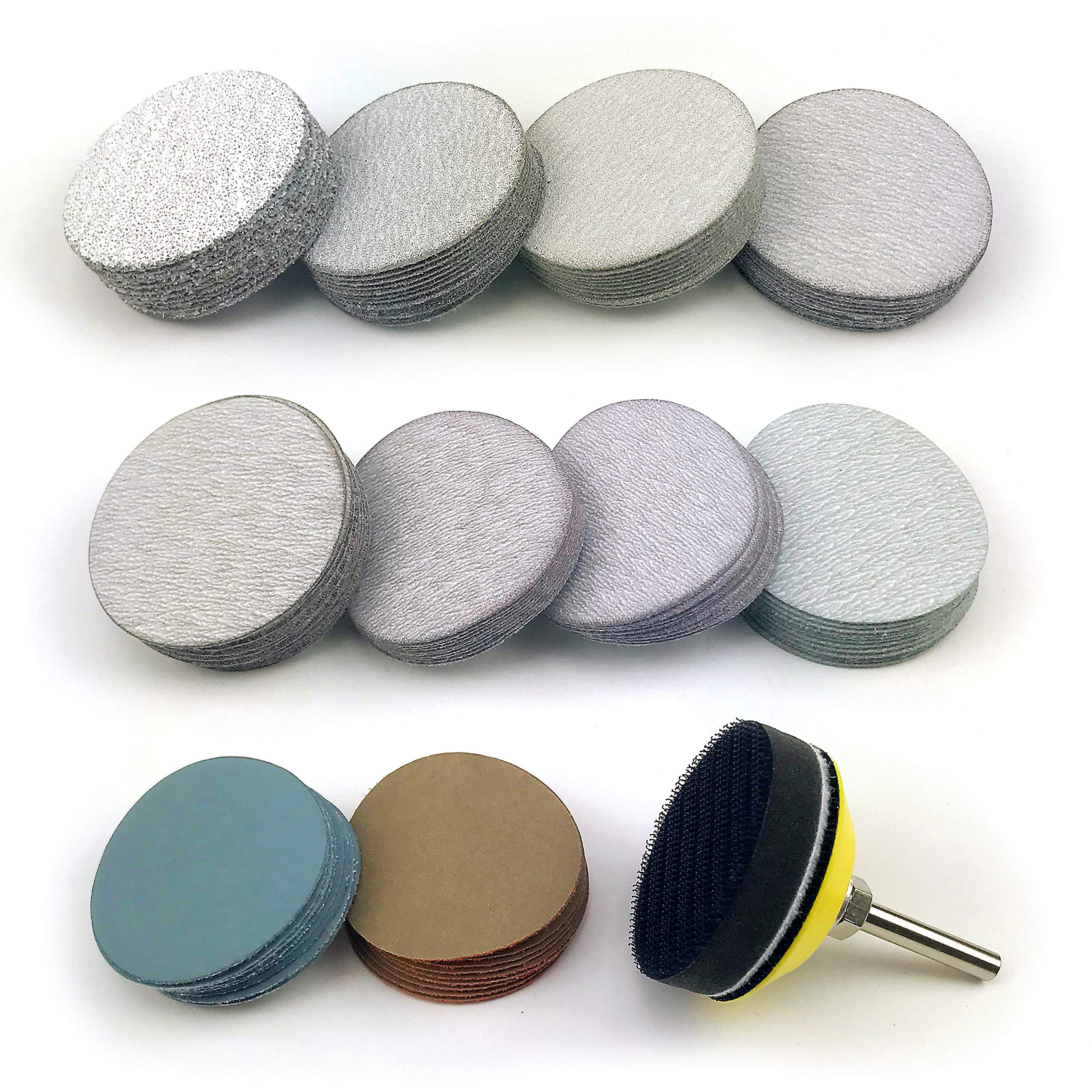 2 Inch Assorted Grits White Dry & Waterproof(wet/dry) Hook & Loop Sanding Discs with 1/4 inch Shank Sanding Pad + Soft Foam-Backed Interface Buffer Pad, Total 100 Discs