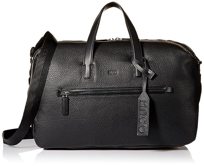 HUGO by Hugo Boss Men s Victorian Leather Weekender Bag, Black, One Size ce4b550871