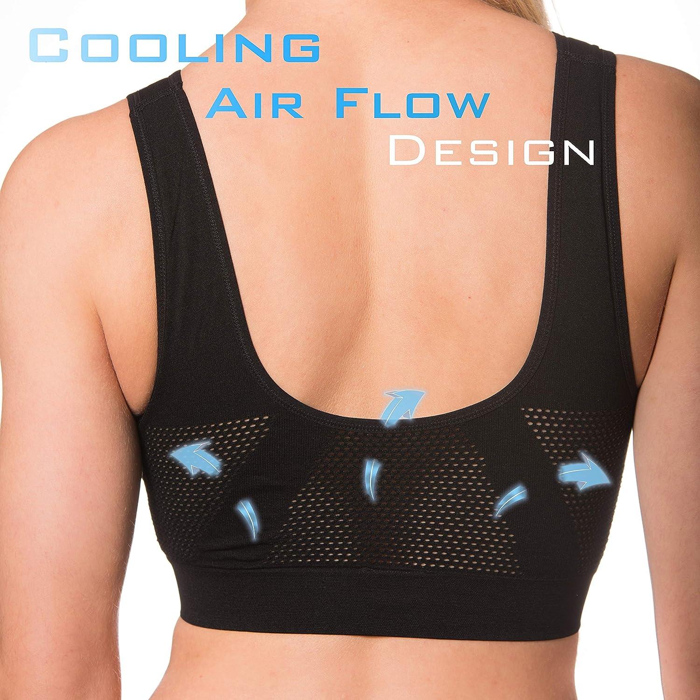 42295545f095b Amazon.com  Seamless Pullover Cooling Sports Bra – Ladies Wirefree Comfort  Bra – 2 Pack (Medium 36-38