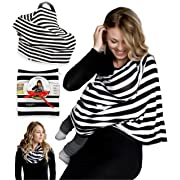 Nursing Breastfeeding Cover Scarf - Baby Car Seat Canopy - Nursing Pads, Pouch & Gift Pack Set - Shopping Cart, Stroller, Carseat Covers for Girls and Boys - Best Multi-Use Infinity Stretchy Shawl