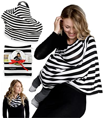 Nursing Breastfeeding Cover Scarf - Baby Car Seat Canopy - Nursing Pads,  Pouch & Gift