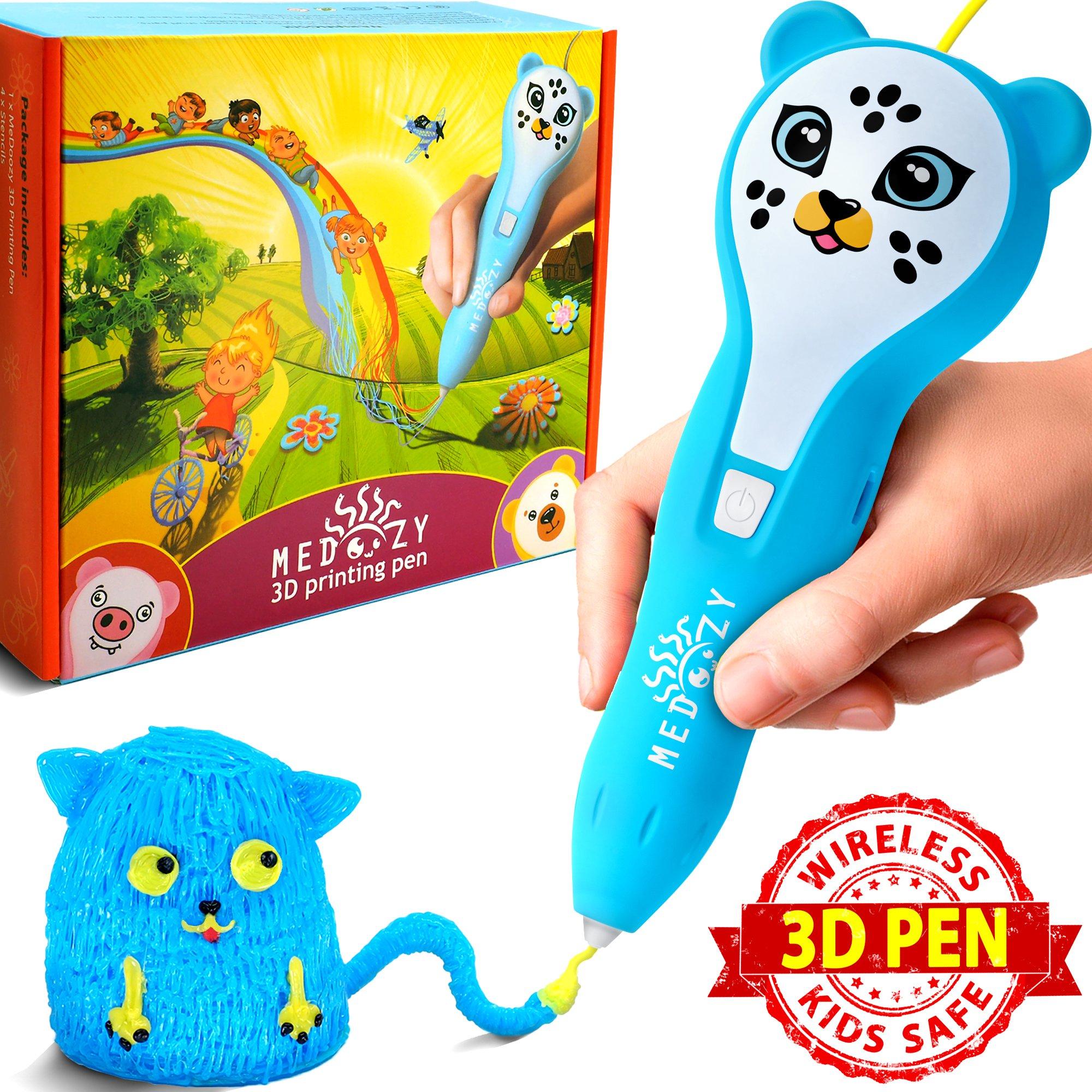 3D Pen for Kids – 3D Printing Doodler Pen Set – Preschool Learning Toys for Girls Boys and Teens – 3D Drawing Doodle Starter Kit – Cute Gifts 3D Printer for Kids – Best Selling Craft Tool Kits (Blue)