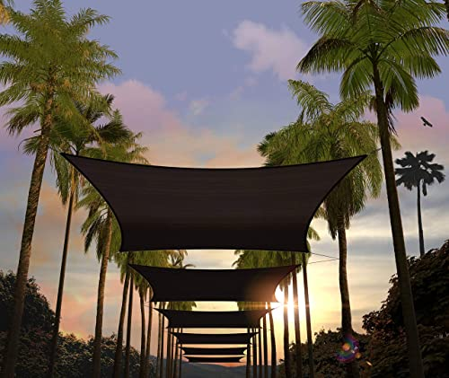 Amgo Custom Size 23' x 24' Black Rectangle Sun Shade Sail ATAPR1216 Canopy Awning
