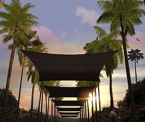 Amgo Custom Size 23' x 24' Black Rectangle Sun Shade Sail ATAPR1216 Canopy Awning
