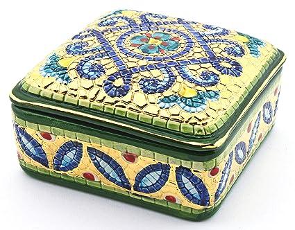 Art Escudellers Caja Cuadrada Ceramica Pintada a Mano con Oro de 24K, Decorado al Estilo