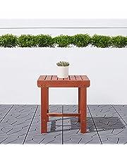 Malibu V1802 Outdoor Patio Wood Side Table, Natural