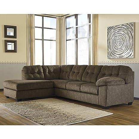 Flash Furniture Signature Design by Ashley Accrington 2-Piece RAF Sofa Sectional in Earth Microfiber