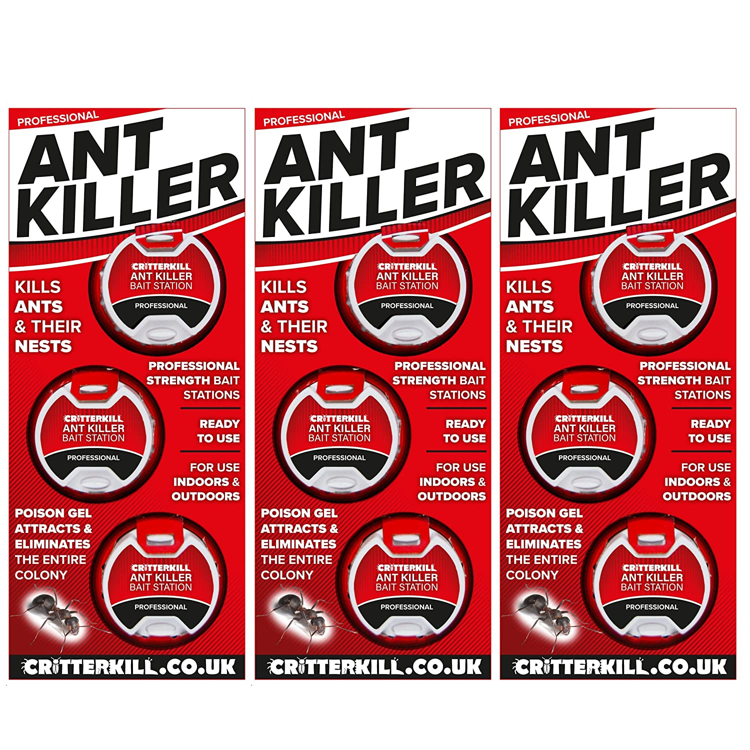 CritterKill Ant Killer Bait Stations | Professional Strength | Eradicates The Whole Nest (1 Pack)