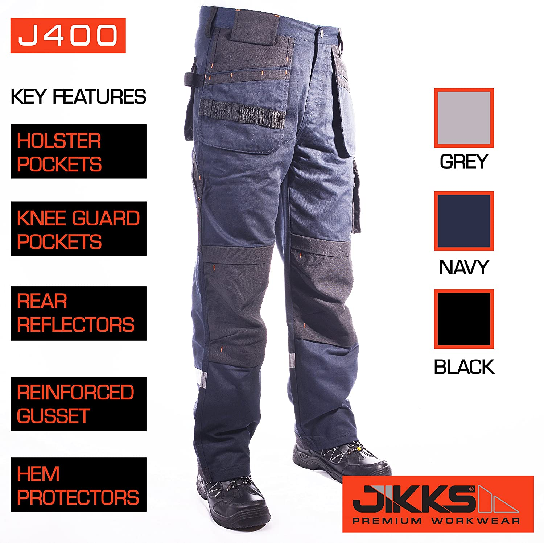 Mens Work Workwear Trousers Combat Premium Holster Knee Guard Pockets Premium Size 32-42 Waist J400