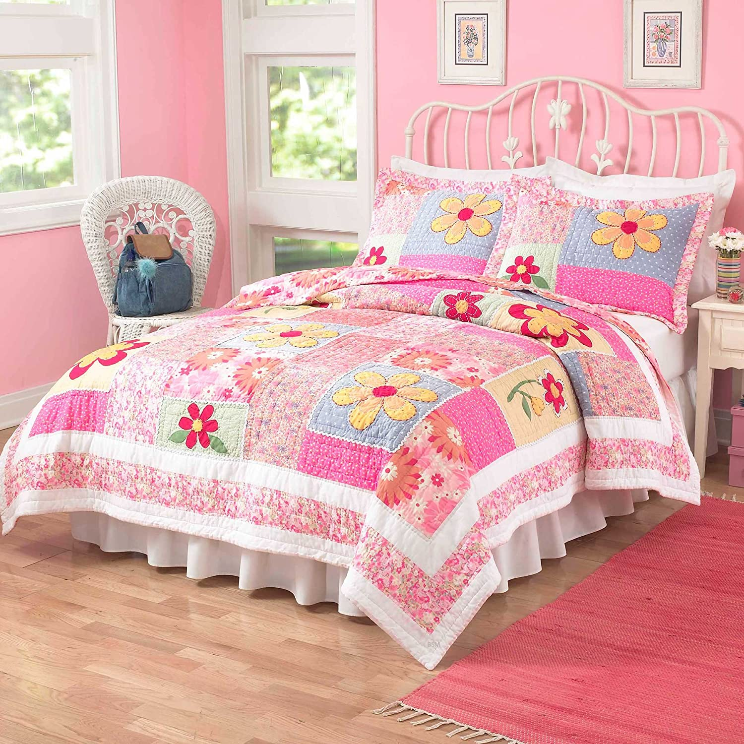 Olivia Pink Girls Quilt with Pillow Sham(s), Twin Pem America QS1327TW-2300