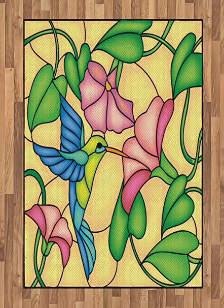 Amazoncom Lunarable Hummingbird Area Rug By Stained Glass Style