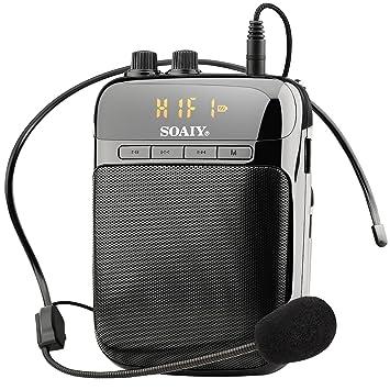 SOAIY Mini Amplificador Guitarra Portátil, Altavoz Portátil por MP3 Música, con Microfono, Radio