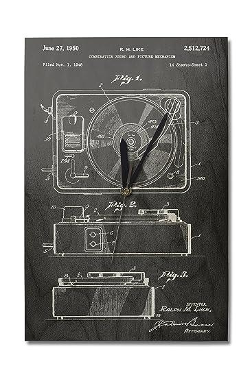 Amazon.com: pizarrón patente – Tocadiscos (10 x 15 reloj de ...