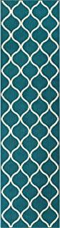 product image for Maples Rugs Rebecca Contemporary Runner Rug Non Slip Hallway Entry Carpet [Made in USA], 2'6 x 10, Teal/Sand