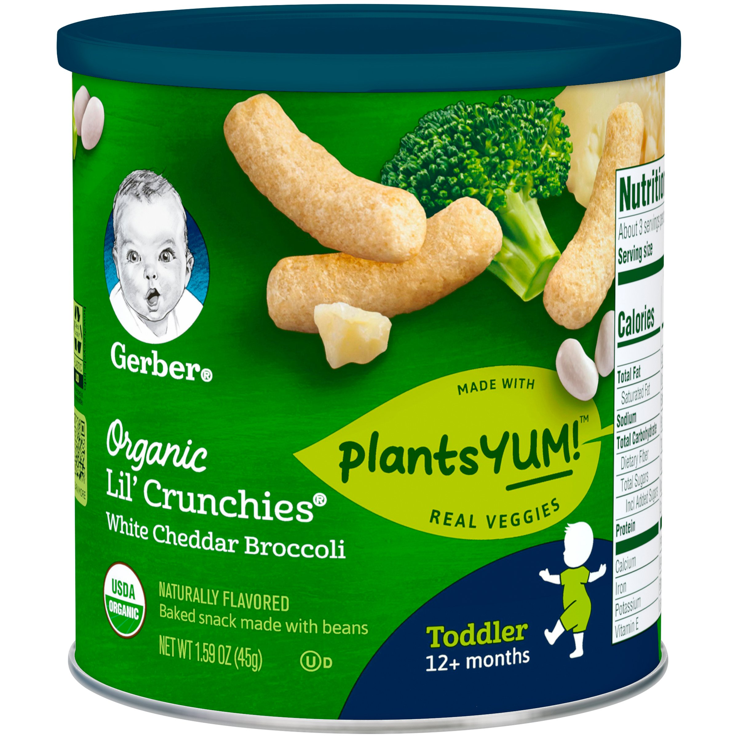 Gerber Organic Lil' Crunches Baked Corn Snack White Cheddar & Broccoli (Pack of 6) by Gerber