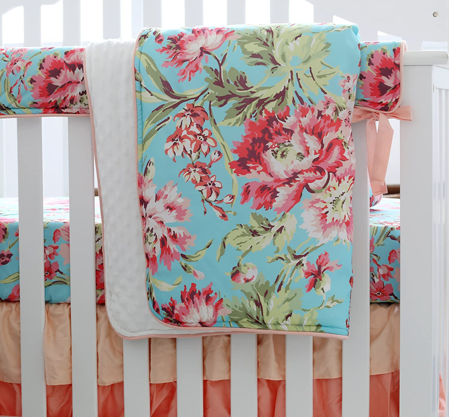 Aqua 3 pcs Set Boho Floral Ruffle Baby Minky Blanket Water Color Peach Floral Nursery Crib Skirt Set Baby Girl Crib Bedding
