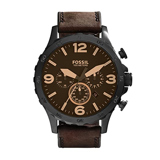 2b6ae4da3 FOSSIL Nate Chronograph Brown Leather Watch / Analogue Men's Watch with  Quartz Movements / Brown Leather