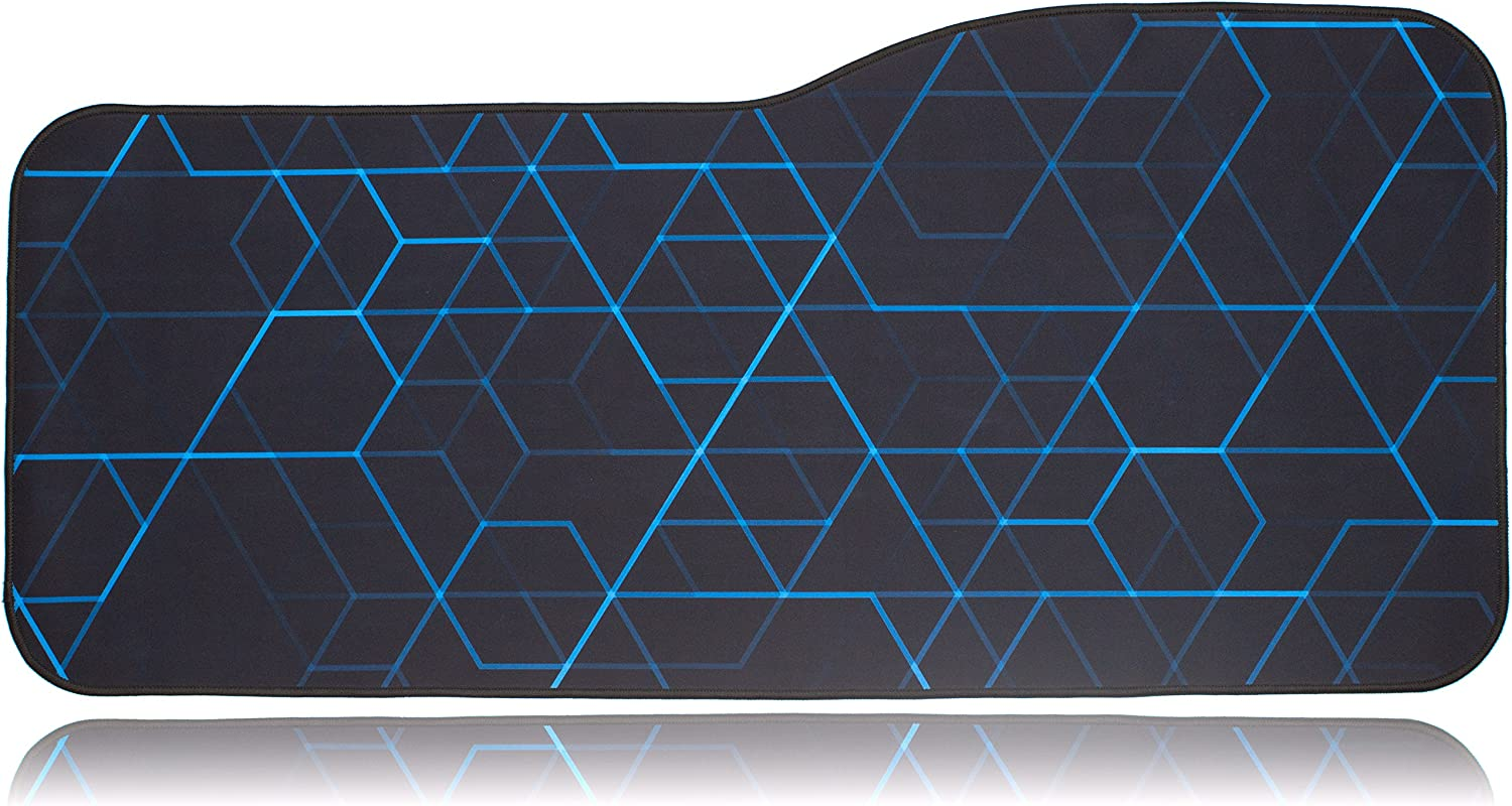 "BRILA Extended Mouse pad - Curve Design Gaming Mouse pad - Stitched Edges & Skid Proof Rubber Base - 29"" x 13.8"" x 0.12"" X-Large Mouse Keyboard Desk Mat for Computer Laptop (Geometrical Lines)"