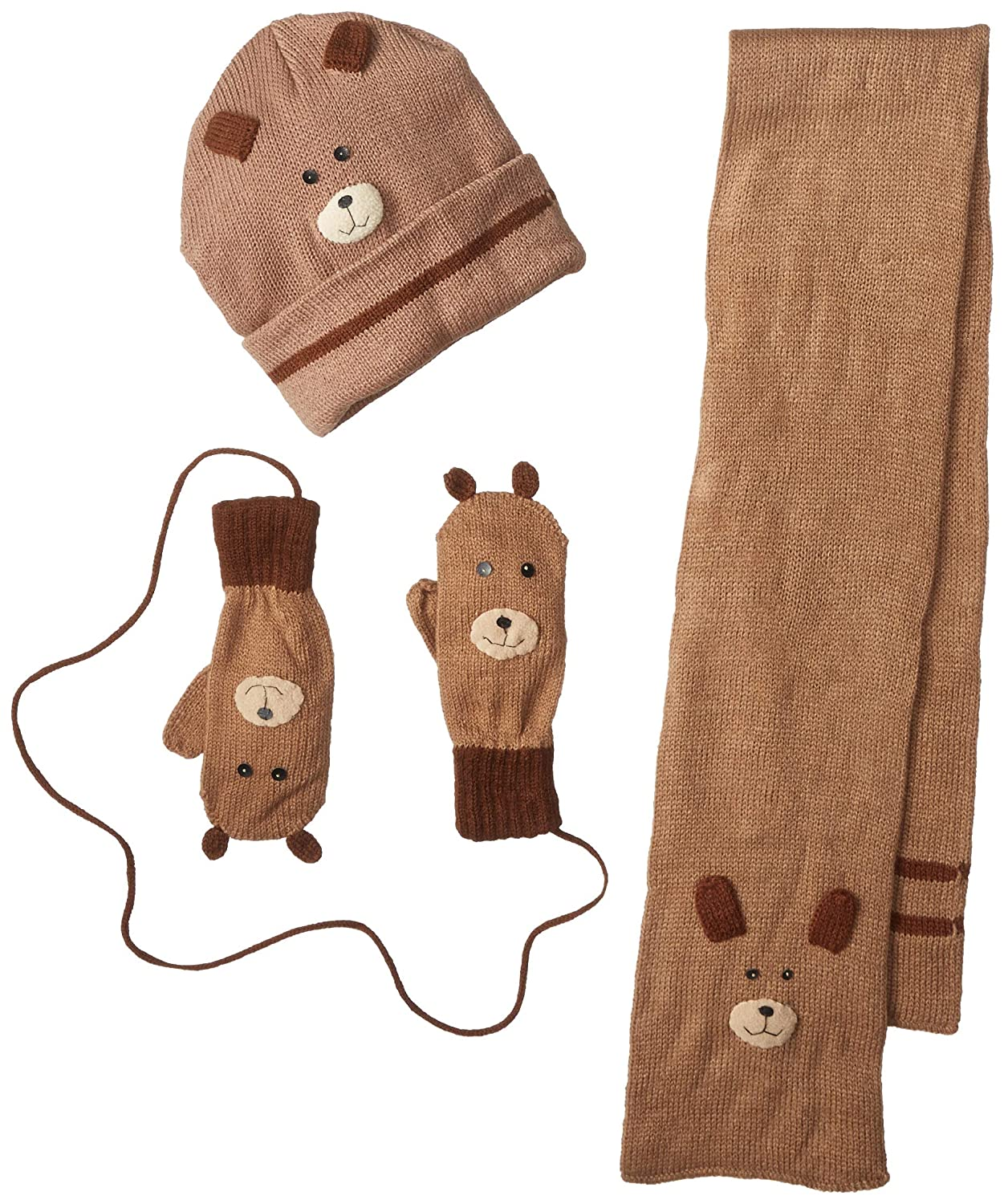 Kidorable Brown Bear Soft Acrylic Knit Hat//Scarf//Mitten Set w//Fun Face and Ears