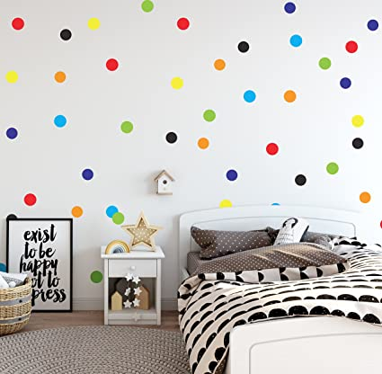 Amazon.com: Sticky Toes Peel and Stick Colorful Polka Dot Wall ...