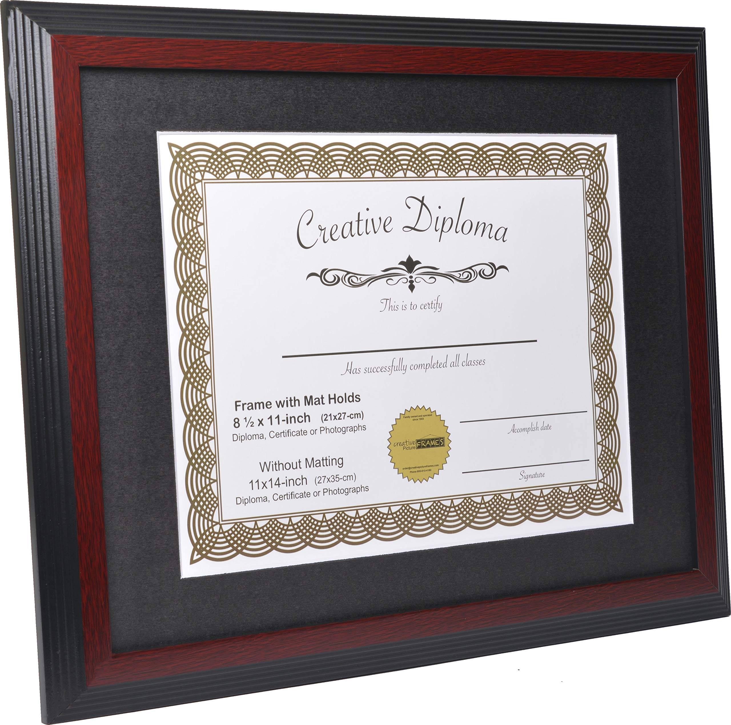CreativePF [1114-1620mh] Large Mahogany Diploma Frame with Black Mat Holds 11x14-inch Documents with Glass and Installed Wall Hanger by Creative Picture Frames (Image #2)