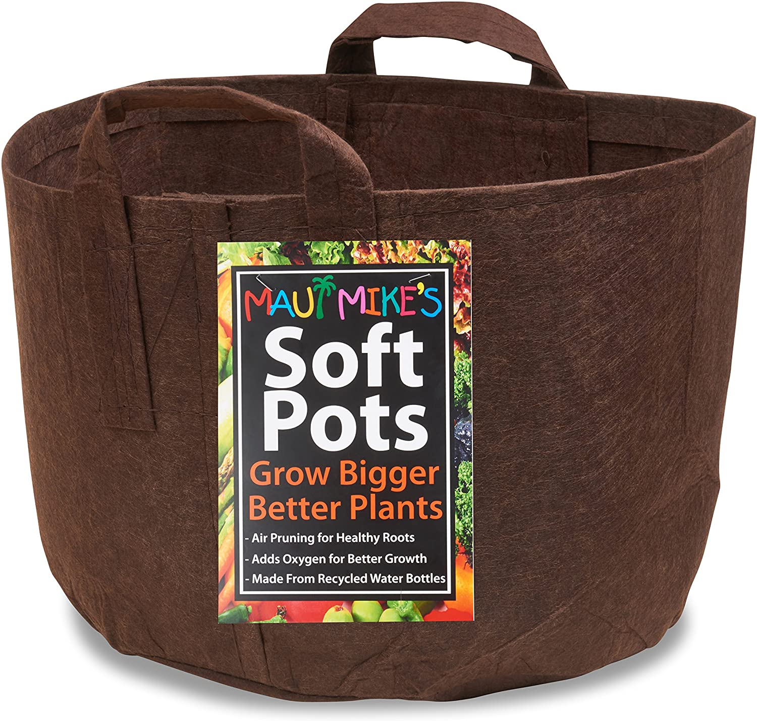 Soft POTS 3 Gallon 5 Pack Best Aeration Fabric Garden Pots from Maui Mike s. Thicker Hemp Material and Recycled from Plastic Water Bottles. Eco Friendly.