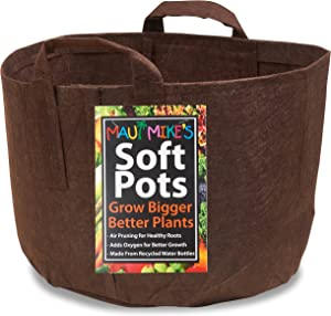 Soft POTS (15 Gallon) Best Fabric Aeration Garden POTS from Maui Mike's. Thicker Fabric and Sewn Handles for Easy Moving. Grow Bigger and Healthier Tomatoes, Veggies and Herbs in Soft POTS.