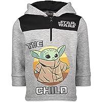 Star Wars Mandalorian The Child Boys Fleece Half-Zip Pullover Hoodie