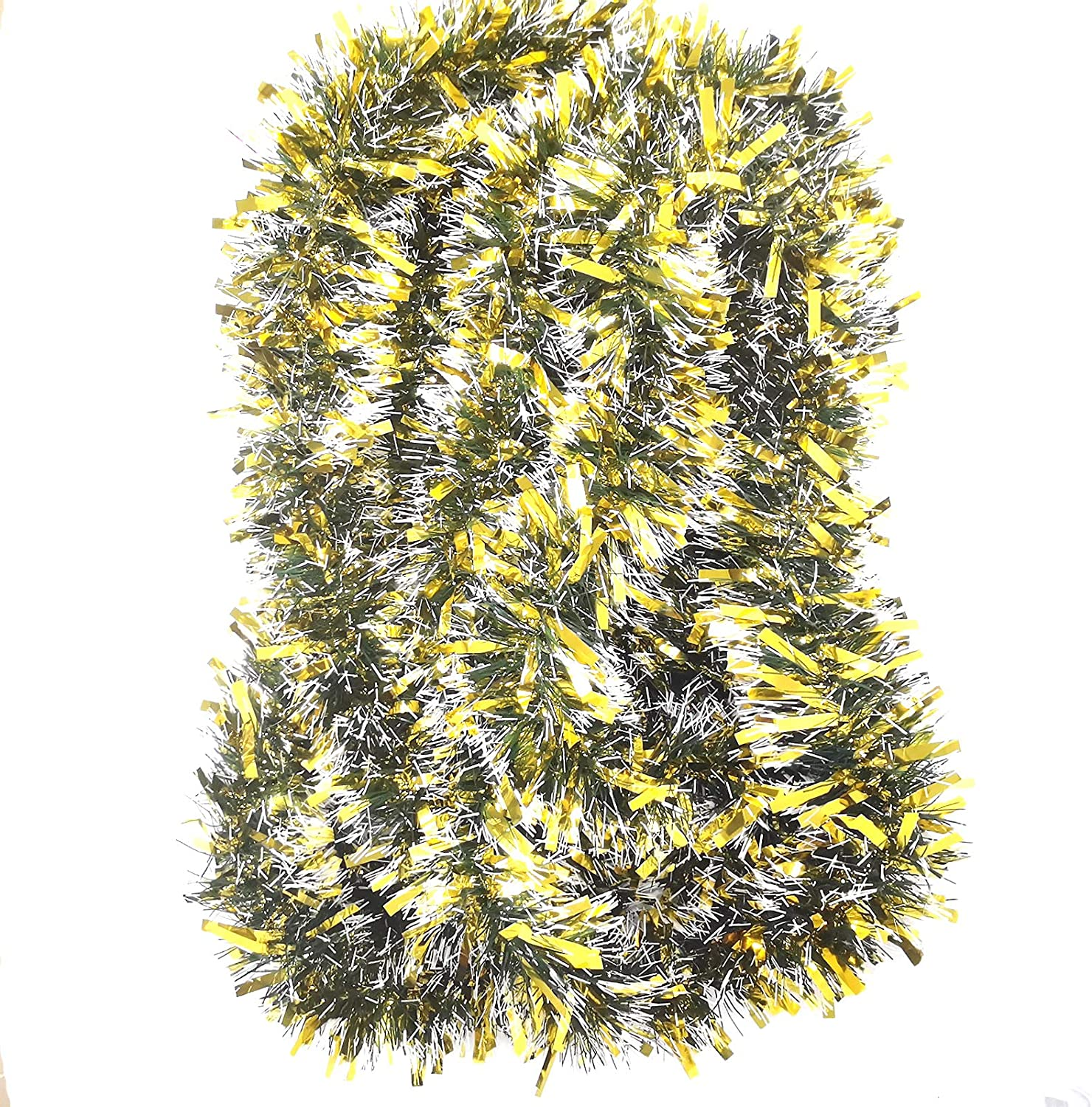 LeleCAT Gold Tinsel Garland for Christmas Decorations Holiday Decor for Outdoor or Indoor Use - Premium Quality Home Garden Tinsel Garland, or Wedding Party Decorations 19 Ft