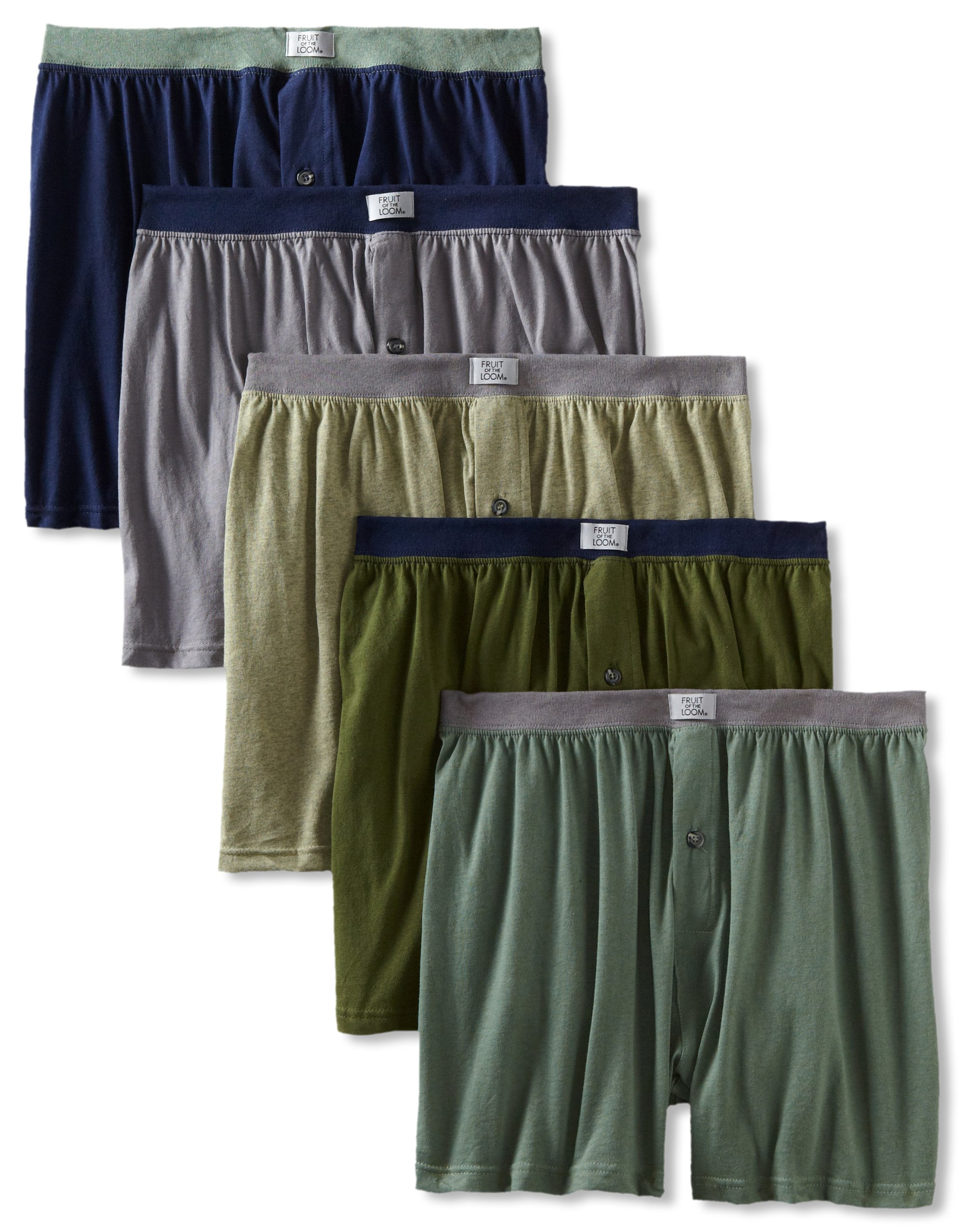 Fruit of the Loom Men's 5-Pack Soft Stretch Knit Boxer - Colors May Vary, Assorted, Medium