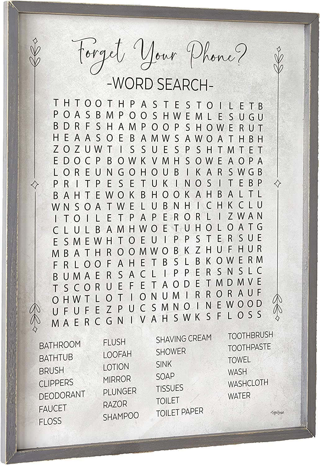 Funny Farmhouse Art with Rustic The Lakeside Collection Bathroom Word Search Wall Sign Vintage Style
