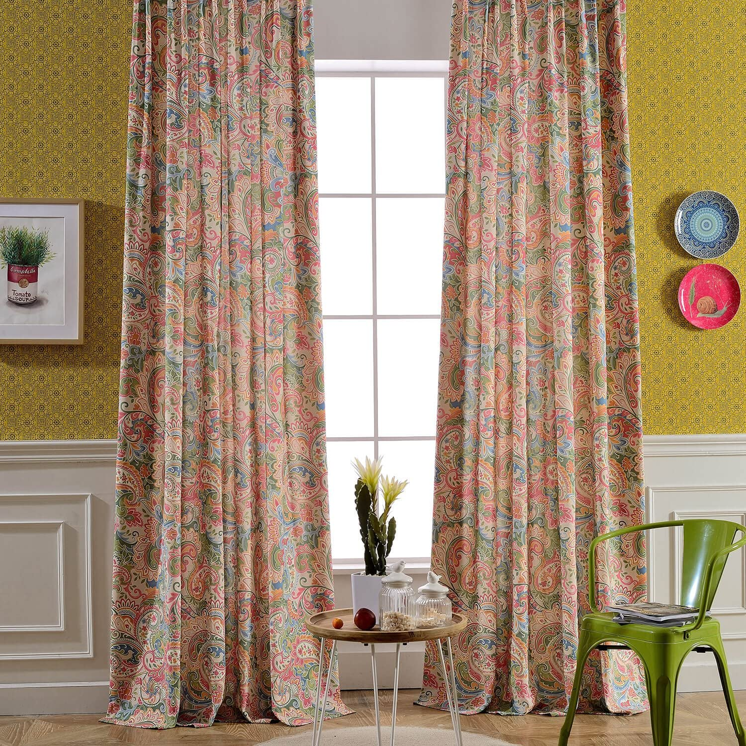VOGOL Floral Printed Curtains, Noise Reduction Grommets Curtain Drapes Panels for Bedroom Hotel and Living Room, Set of 2 Panels, W52 x L84 inch, Orange