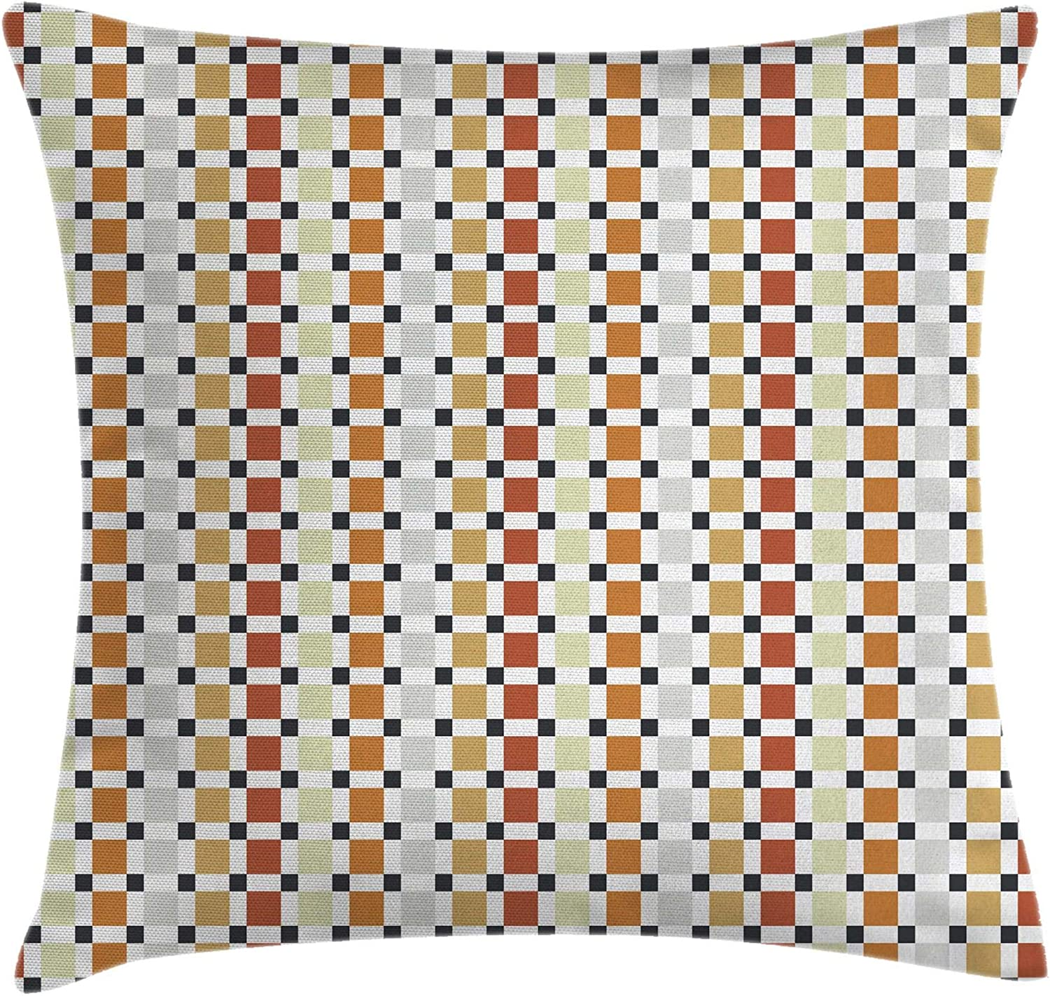 """Ambesonne Retro Throw Pillow Cushion Cover, Checkered Business Theme Rhombus Cubical Different Pastel Colors Artwork, Decorative Square Accent Pillow Case, 20"""" X 20"""", Orange Amber"""