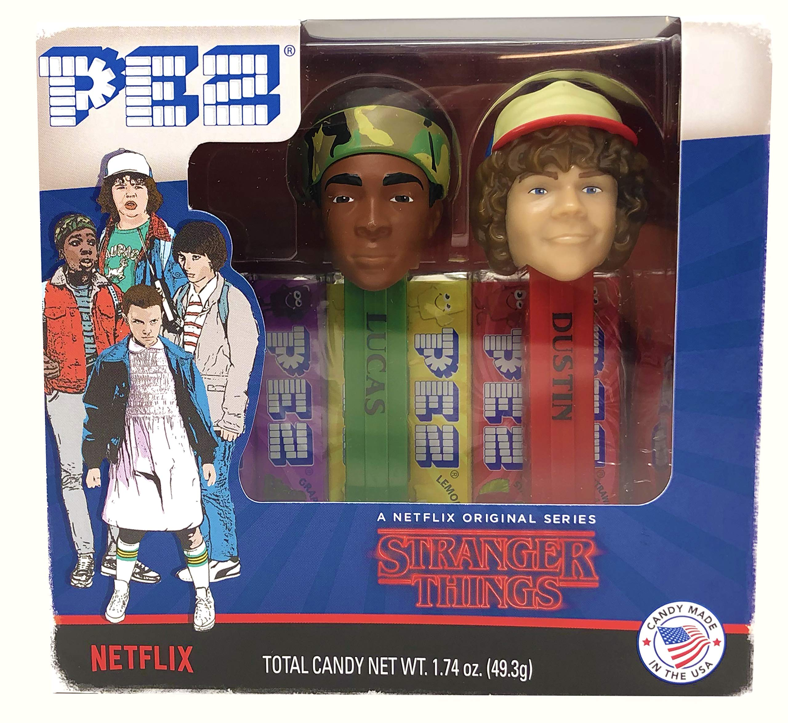 PEZ Stranger Things Gift Set Dispensers Plus 6 Candy Refills - Lucas and Dustin Pez Dispensers