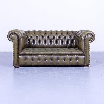 Chesterfield Leder Sofa Oliv Grun Zweisitzer Couch Echtleder Vintage