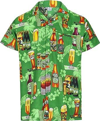 Redstar Fancy Dress - Camisa Hawaiana de Manga Corta - para Hombre - Cerveza y Playa - Todas Las Tallas - Verde - XL: Amazon.es: Ropa y accesorios