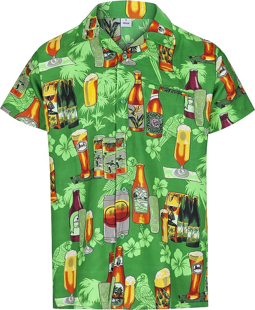 Redstar Fancy Dress - Camisa Hawaiana de Manga Corta - para Hombre - Cerveza y Playa - Todas Las Tallas - Verde - S: Amazon.es: Ropa y accesorios