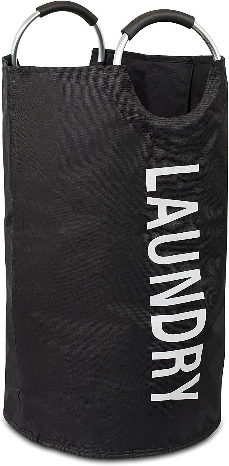 BIRDROCK HOME Round Oxford Laundry Bag - Clothes Storage - Laundry Bin - College Student - Foldable - Black