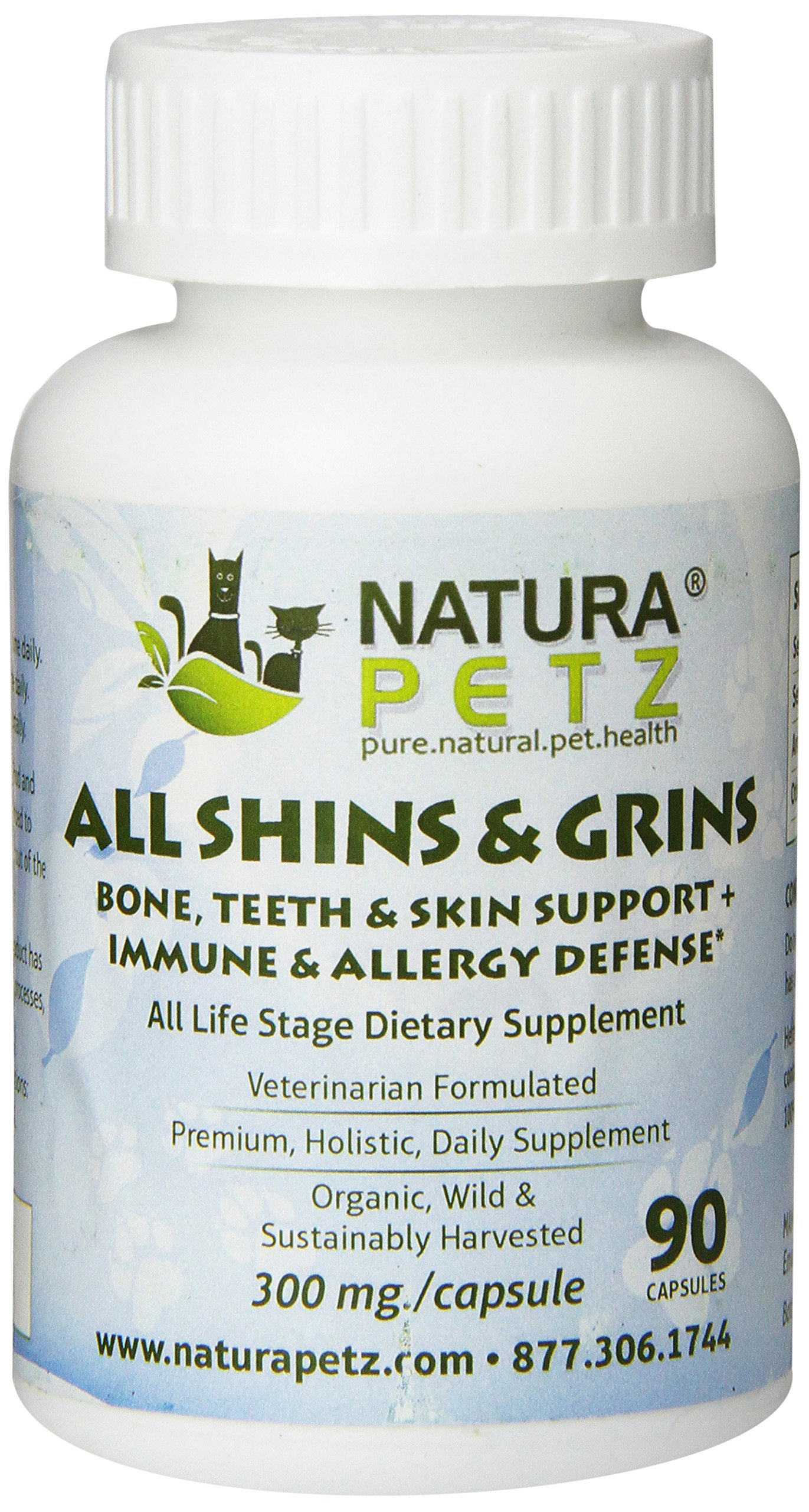 Natura Petz All Shins & Grins - Bone, Eye, Teeth & Skin Support + Immune Health & Allergy Defense