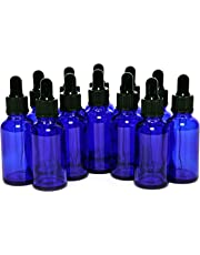 12, Cobalt Blue, 1 oz, Glass Bottles, with Glass Eye Droppers