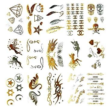 799aeb02944bc Amazon.com : Oottati 15 Sheets Small Cute Metallic Golden Silver Temporary  Tattoo Diamond Feather Skull Wing Love Swan Arrow : Beauty