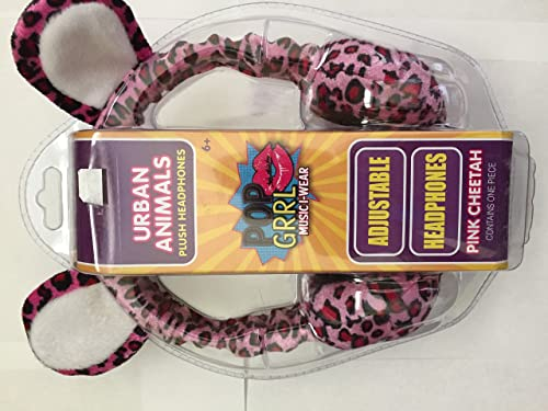 Wish Factory Urban Animals Pink Cheetah Plush Headphones