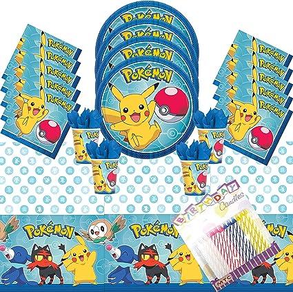 Platos de fiesta con diseño de Pokemon, servilletas y mantel Sevres 16 con velas de cumpleaños – Suministros de fiesta Pokemon Deluxe (Paquete para 16): Amazon.es: Juguetes y juegos