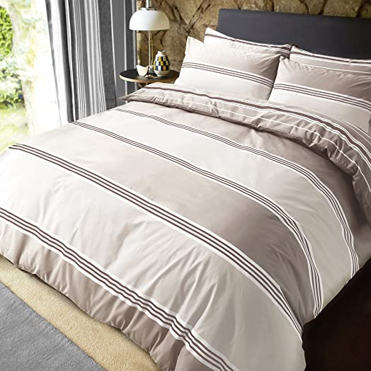 banded stripe natural reversible duvet quilt cover pillowcases super king by pieridae