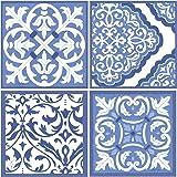 Thirstystone Stoneware Coaster Set, Blue and White Scrollwork