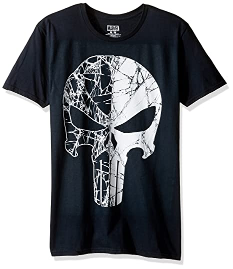 5cc5090e Marvel Men's Punisher Shattered Logo Short Sleeve Graphic T-Shirt, Black, X-