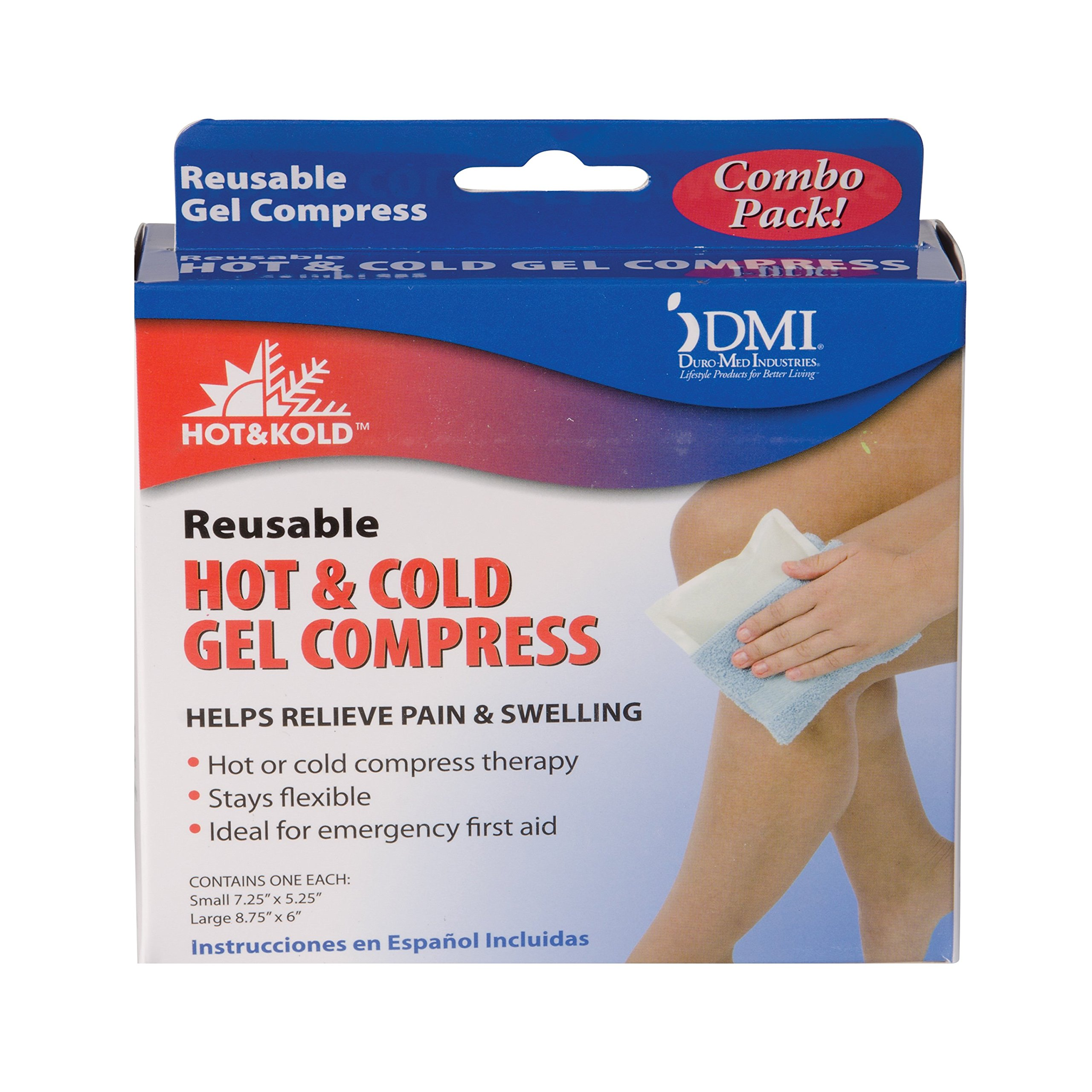 Mabis Dmi Healthcare Dmi Hot & Kold- Hot and Cold Gel Compress, Reusable and Flexible, Mircrowave for Heat, Freeze for Cold, 1 Small, 1 Large by MABIS DMI Healthcare