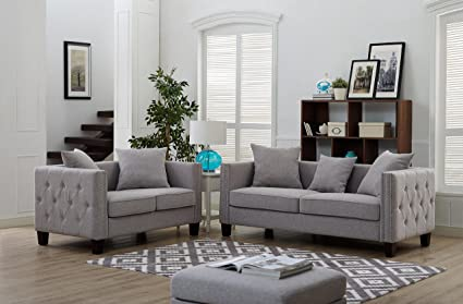 Superbe 2 Piece Tufted Button Side, Nailhead Trim Studded Sofa Set Include Loveseat  And A